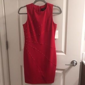 NWT Jessica Simpson red dress gold embellishments